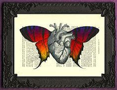 Anatomical heart butterfly wings poster, human anatomy wall art, colorful gothic art print, butterflies decor, rainbow artwork, goth dictionary print decorations. Each illustration is printed on a beautiful antique book page from a French magazine called La Petite Illustration from around 1910. Please keep in mind that you will not get the exact same page as shown in the image, but you will get a similar antique book page from the same magazine. Each print is unique. You definitely have...
