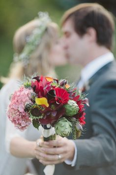 Bohemian Chic And Oh So Intimate Wedding... Bouquet with artichokes
