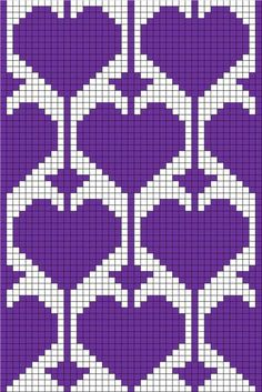 filet crochet or tapestry with heart motif: