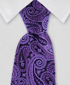 This purple & black, paisley, silk tie is one of a kind in quality and style. You'll love it! A great wedding tie too.