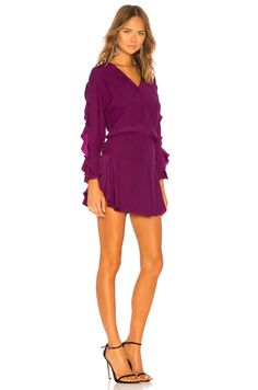 Shop for Karina Grimaldi Camila Mini Dress in Berry at REVOLVE. Free day shipping and returns, 30 day price match guarantee. Ruffle Sleeve, Purple Dress, Curves, Women Wear, Rompers, Mens Fashion, Mini, Casual, Model