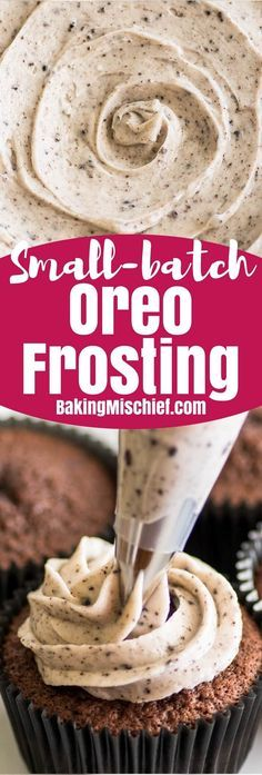This Small-batch Oreo Frosting, made with cream cheese and crushed Oreo, is the cookies and cream frosting of your dreams.