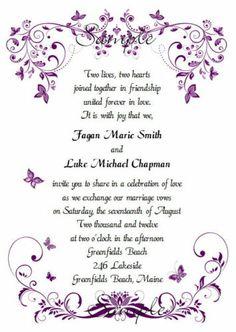 100 Personalized Custom Purple Erfly Spring Bridal Wedding Invitations Set