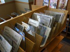 Newspaper shelf/display, view 2 (Darien CT)