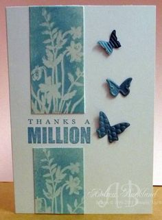 Stampin Up Beautiful Wings. Emboss resist. Simple card