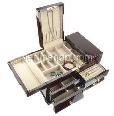 Kosmetikkasten, Holz, mit Baumwollsamt & Zinklegierung, Rechteck, goldfarben plattiert, dattelrot, frei von Nickel, Blei & Kadmium