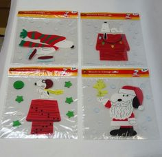 Set of 4 NEW Snoopy Christmas window gel clings decorations