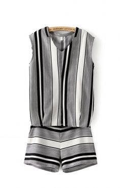 Stripes Printing V-neck Sleeveless Two-piece Suit