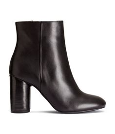H&M Leather Ankle Boots $99 : Description - PREMIUM QUALITY. Leather ankle boots with a covered cylindrical heel, side zip, and rubber soles. Heel height 3 1/2 in. - Details - 100% leather. Imported