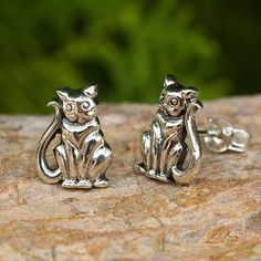 Cat Theme Hand Crafted Sterling Silver Button Earrings - Contented Kittens | NOVICA