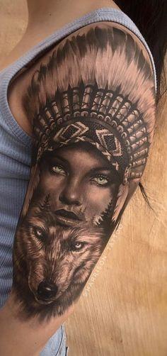80 fotos de tatuagens masculinas no braço Tattoos 3d, Native Tattoos, Native American Tattoos, Animal Tattoos, Indian Women Tattoo, Indian Girl Tattoos, Indian Skull Tattoos, Skull Girl Tattoo, Wolf Tattoo Design