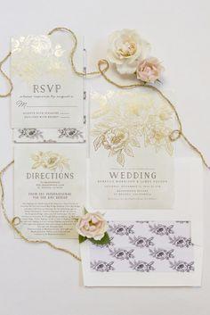Gold Foil Wedding Invitations | Gold Invitations, Invitations and Gold