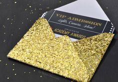 Free Printable Oscar Party Invitations + DIY Gold Glitter Envelopes - Make Life Lovely
