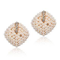Rhombus White Pearl Stud Earrings