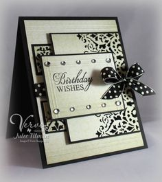 Gorgeous black and white card by Julee Tilman @ Verve.  Great layout too.