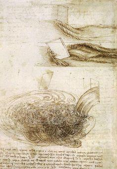 Leonardo Da Vinci-Études d eau passant obstacles et de tomber