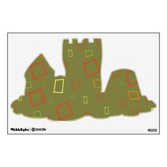 Abstract Sage Orange Sand Castle Wall Decal