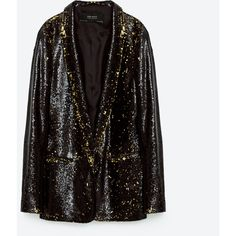 BLAZER WITH SEQUINS - EVENING-WOMAN | ZARA Ukraine ($50) ❤ liked on Polyvore featuring outerwear, jackets, blazers, blazer, blazer jacket, evening jackets, sequin blazer jacket, sequin jacket and holiday blazer