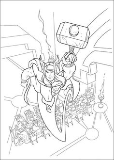 Thor coloring page (site has tons of coloring pages