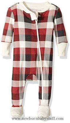 Baby Boy Clothes Burt's Bees Baby Baby Organic Chevron Bee Sleeper, Cranberry Buffalo Plaid, 3-6 Months