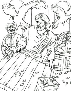 Best Bible - New Testament coloring pages. Jesus Cleanses The Temple, Jesus In The Temple, Images Bible, Bible Pictures, Sunday School Kids, Sunday School Crafts, Bible Crafts, Bible Art, Sunday School Coloring Pages