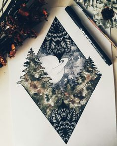 #mandala #geometric #mosaic #planet #trees #galaxy #starrysky #watercolor Artwork done by Lejla Jusufi