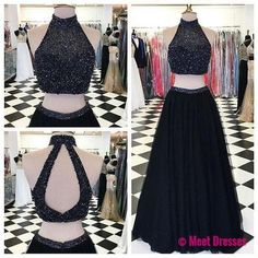 2 Piece Prom Gown,Two Piece Prom Dresses,Evening Gowns,2 Pieces Party Dresses,Evening Gowns,Sparkle Formal Dress For Teens PD20182518