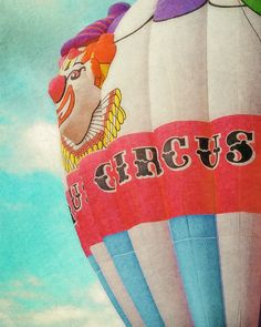 Circus Hot Air Balloon  blue green  green  red by FloatingLeafArts