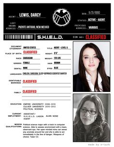 SHIELD File || Darcy Lewis || 736px × 952px || #fanedit<---look at the Languages she speaks!! Lolololol!!