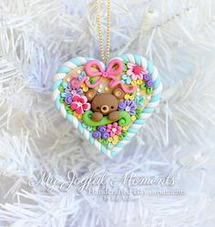 Handcrafted Polymer Clay Bear Heart Ornament