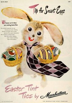 An adorable Easter themed ad for Manhattan Ties, 1947. #vintage #1940s #Easter #menswear #ads