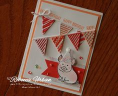 This little piggy went to market….this little piggy stayed home…and had a PARTY!! I love this stamp set! I think its going to be very popular once June 1 hits and everyone can order it. Here it is paired with the Frozen Treats Thinlits Dies (which you CAN get right now!) and some Tasty Treats pretty paper (which is almost GONE! Such a great deal for $8 too, so hurry and get it!). I love the versatility of the thinlits! I saw someone use the cones as a banner and thought that was the neat...