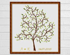Cross stitch pattern - Scheme for cross stitch - Personalized - Wedding Tree - Guestbook - INSTANT DOWNLOAD - PDF by PatternsTemplates on Etsy