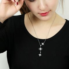 New Trendy 925 Sterling Silver Micro Pave Zircon Star Sweater Chain Necklaces & Pendants For Women