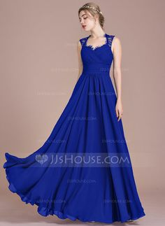 [US$ 108.99] A-Line/Princess Floor-Length Chiffon Lace Bridesmaid Dress With Ruffle Bow(s) (007104746)