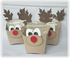 reindeer french fry box using leaflit framelits oval punches and french fry die from Stampin' Up!