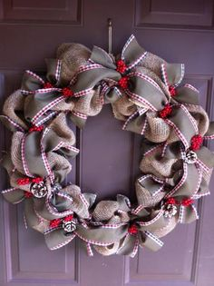 Burlap Christmas Wreath for Front Door Holiday by WeHaveWreaths for $50.00