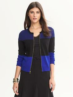 Colorblock zip front anna cardigan - Own