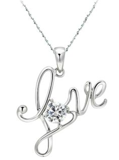 """09a90f14adf Lovely HEAVY Platinum Plated CZ """"LOVE"""" PENDANT Necklace - Sterling Silver  Chain  Pendant"""