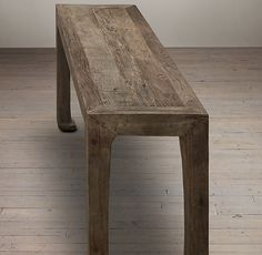 Reclaimed Elm Console Table; notice the notched corners