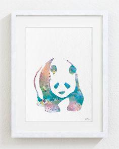 Bear Art Print, Panda Watercolor Print - Archival Print - Teal, Pink, Blue Painting - Bear Print - Wall Decor Art Home Decor Watercolor Print, Watercolor Paintings, Wall Art Decor, Wall Art Prints, Panda Painting, Panda Love, Pink Panda, Panda Art, Bear Print