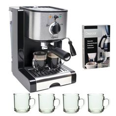 Capresso EC100 Refurbished Pump Espresso and Cappuccino Machine + 4 Pieces10 oz. ARC Handy Glass Coffe Mug + Urnex Dezcal Home Activated Coffee/ Espresso Descaler - http://teacoffeestore.com/capresso-ec100-refurbished-pump-espresso-and-cappuccino-machine-4-pieces10-oz-arc-handy-glass-coffe-mug-urnex-dezcal-home-activated-coffee-espresso-descaler/