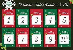 Christmas Event & Wedding Table Numbers Printable Table