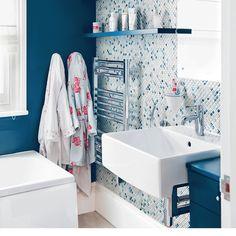 Blue and white bathroom | Bathroom design | Mosaic tiles | Image | Housetohome