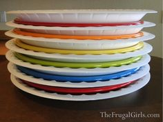 Moving? Pack your plates with foam disposable plates between them! Sooo much easier than wrapping each one in yucky newspaper