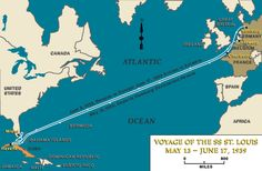 """The plight of German-Jewish refugees, persecuted at home and unwanted abroad, is illustrated by the voyage of the SS """"St. Louis."""" On May 13, 1939, the SS """"St. Louis,"""" a German ocean liner, left Germany with almost a thousand Jewish refugees on board. The refugees' destination was Cuba, but before their arrival the Cuban government revoked their permission to land. The """"St. Louis"""" was forced to return to Europe in June 1939."""