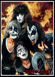 Kiss | Formed in 1973 | Did not appear in public without their makeup until 1983 | The group rose to prominence with elaborate live performances, which featured fire breathing, blood spitting, smoking guitars, shooting rockets, levitating drum kits and pyrotechnics | Inducted into the Rock and Roll Hall of Fame in 2014, nearly 15 years after becoming eligible | Artwork by Chris Hoffman [©2007-2014 choffman36]