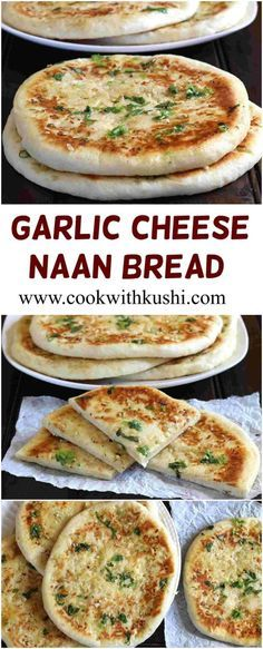 Garlic Cheese Naan is super soft and flavorful flat bread that you must not miss to try. The minced garlic and melted cheese in every single bite makes this bread simply irresistible. Recipes With Naan Bread, Flatbread Recipes, Cooking With Naan Bread, Cheese Naan Recipes, Homemade Naan Bread, Indian Food Recipes, Vegetarian Recipes, Cooking Recipes, Garlic Cheese