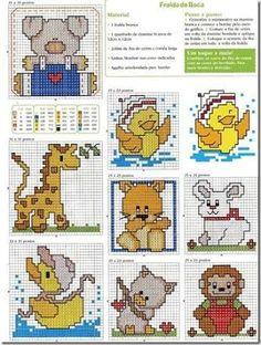 Resultado de imagem para animais em ponto cruz infantil