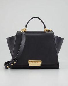 ShopStyle: Z Spoke Zac Posen Eartha Full-Flap Satchel Bag, Black